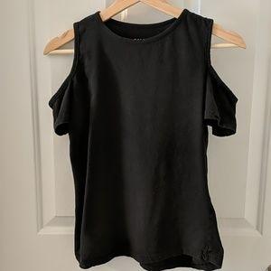 Black Short-Sleeve Cold Shoulder Top